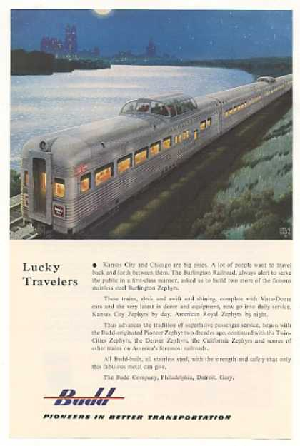 Burlington RR Kansas City Zephyr Train Budd Co (1953)