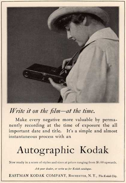 Kodak's Autographic cameras – Write it on the film – at the time. (1915)