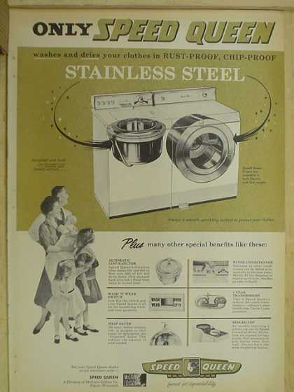 Speed Queen Stainless Steel washers and driers (1959)