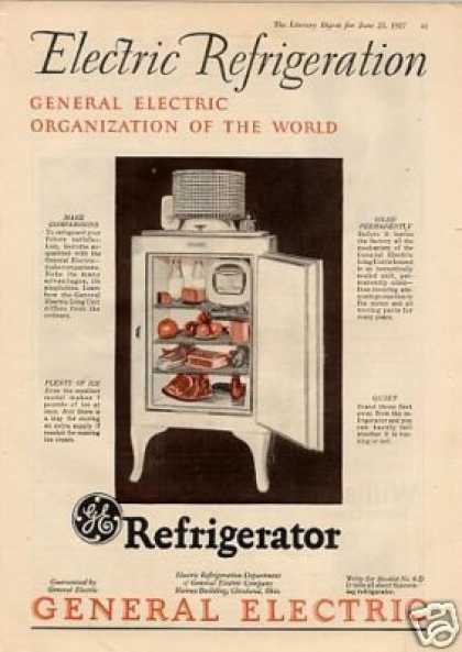 General Electric Refrigerator Color Ad 2 Page (1927)