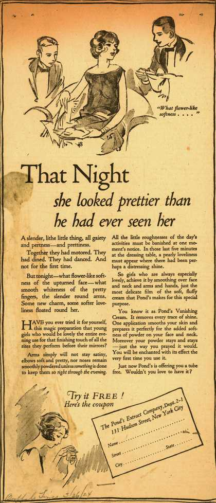Pond's Extract Co.'s Pond's Vanishing Cream – That Night she looked prettier than he had ever seen her (1924)