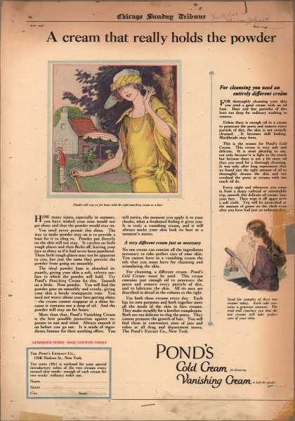 Pond's Extract Co.'s Pond's Cold Cream and Vanishing Cream – A cream that really holds the powder (1922)