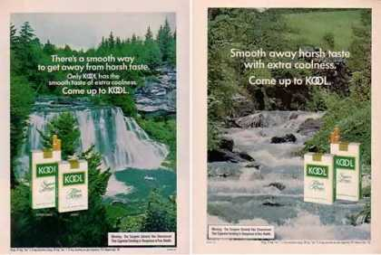 Kool Cigarettes Ads – Extra Coolness Waterfalls Set of 2 (1975)
