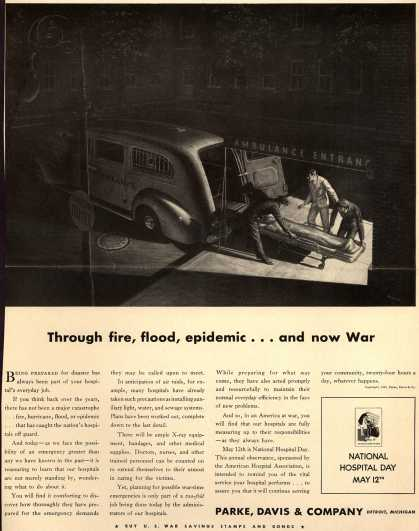 Parke, Davis & Company – Through fire, flood, epidemic...and now War (1942)