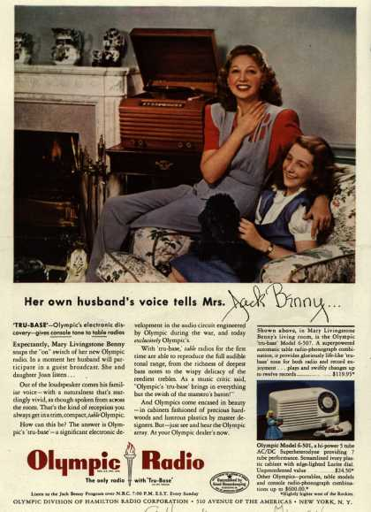 Olympic Division of Hamilton Radio Corporation's Table Radio – Her Own Husband's Voice Tells Mrs. Jack Benny... (1946)