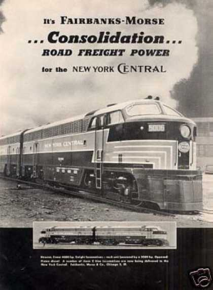 Fairbanks-morse Ad New York Central Cfa-20-4 #5006 (1950)