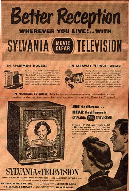 Colonial Radio Corporation's Movie Clear Television – Better Reception Wherever You Live! ..With Sylvania Movie Clear Television (1949)