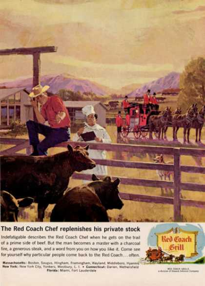 Red Coach Grill Ranch Cattle Beef Cow Print (1964)