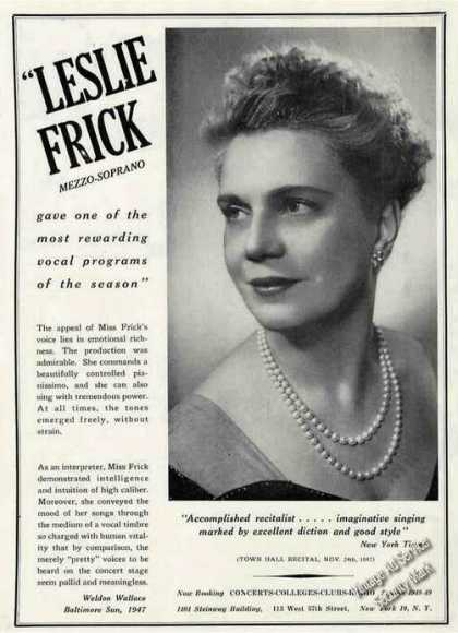 Leslie Frick Photo Mezzo-soprano Trade (1948)
