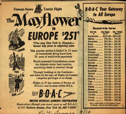 British Overseas Airways Corporation's The Mayflower – The Mayflower to Europe (1952)