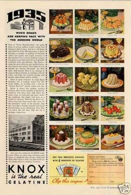 Knox Gelatine Color Ad 2 Page (1935)