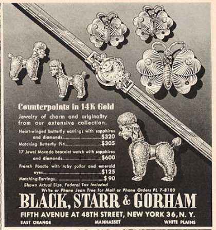 Black Starr Gorham Poodle Dog Jewelry (1953)