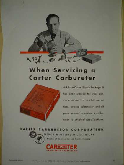 Carter Carburetor. Carburetor repair package. St. Louis Missouri AND Sioux abrasive disc Albertson and Co (1940)