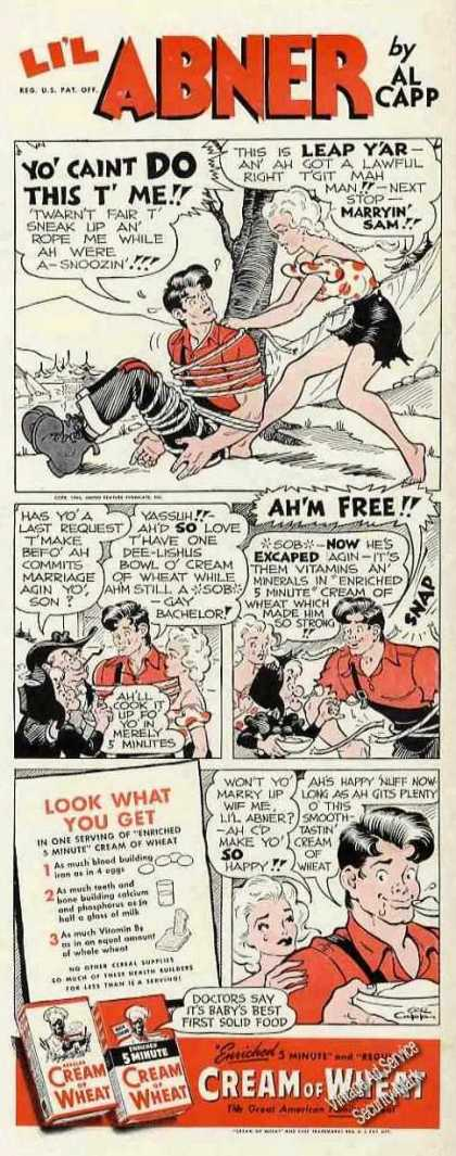 Li'l Abner Al Capp Daisy Mae Cream of Wheat (1944)