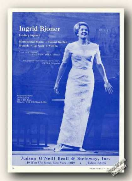 Ingrid Bjoner Photo Soprano Opera Rare (1967)