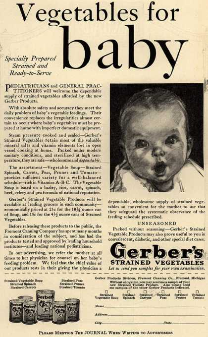 Gerber Products Division, Fremont Canning Company's Gerber Strained Vegetables – Vegetables for baby (1929)