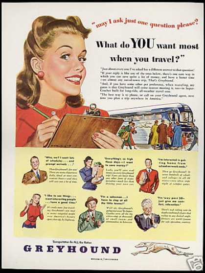 Greyhound Bus Travel Pretty Woman Art (1948)