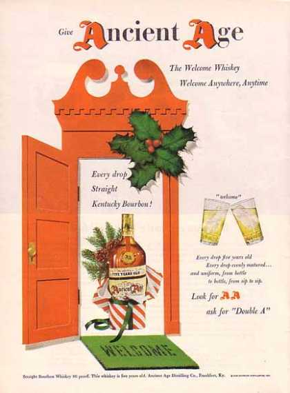 Ancient Age Christmas Whiskey – Look For AA (1948)