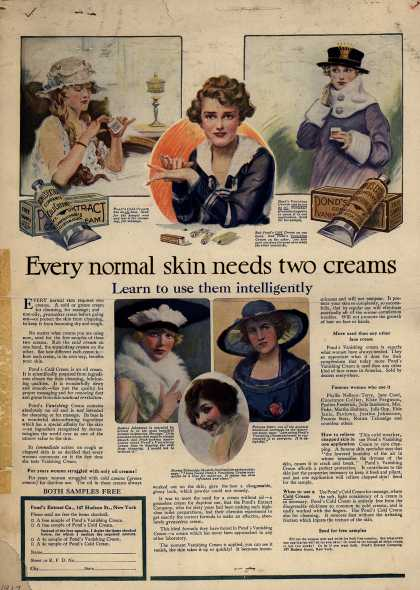 Pond's Extract Co.'s Pond's Cold Cream and Vanishing Cream – Every normal skin needs two creams (1917)