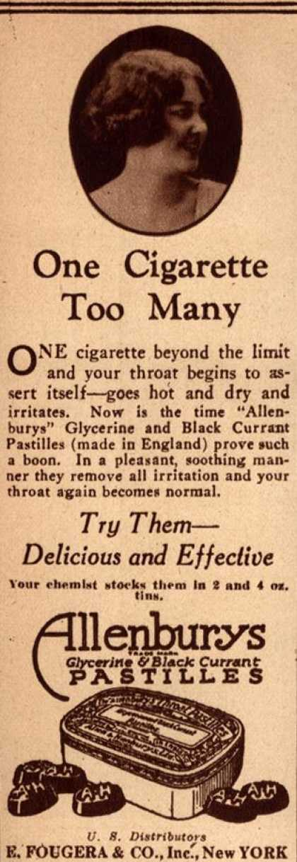 E. Fougera & Co.'s Allenburys Glycerine & Black Currant Pastilles – One Cigarette Too Many (1928)