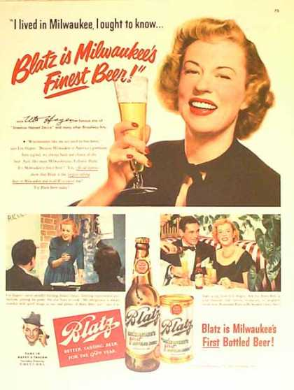 Blatz Beer – Uta Hagan – Star of Street Car Named Desire – Sold (1950)