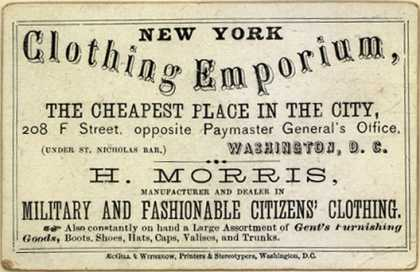 New York Clothing Emporium's Military and Fashionable Citizens' Clothing – Clothing Emporium : The Cheapest Place in the City