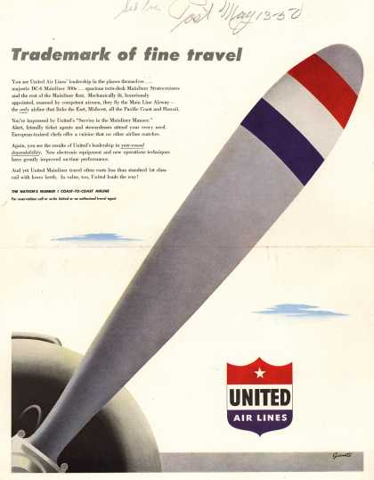 United Air Lines – Trademark of fine travel (1950)