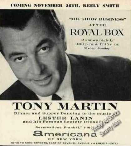 Tony Martin at the Royal Box Americana of Ny (1962)