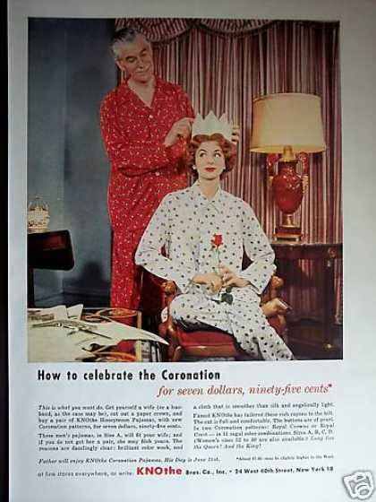 King & Queen Coronation Pajamas Great Photo (1953)