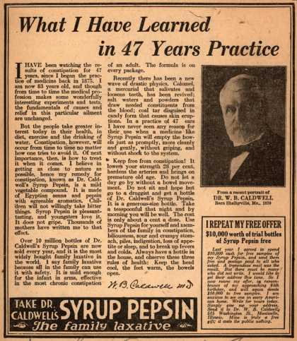 Dr. W. B. Caldwell's Syrup Pepsin – What I Have Learned in 47 Years Practice (1923)