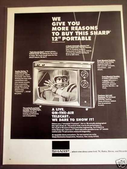 "Sharp 12"" Portable Football Player On Tv (1971)"