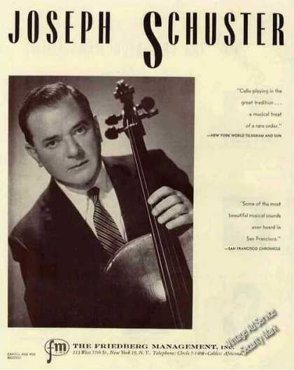 Joseph Schuster Photo Cello Booking (1959)