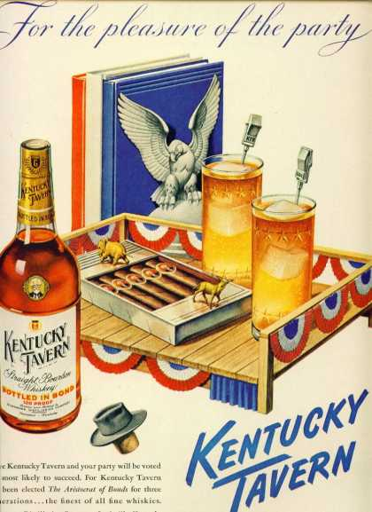 Kentucky Tavern Bourbon Whiskey Ad Election Motiff (1948)