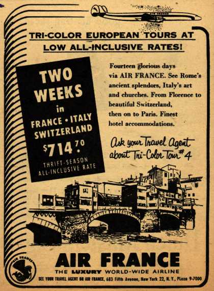 Air France's France-Italy-Switzerland Package – Tri-Color European Tours At Low All-Inclusive Rates (1953)