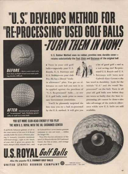 U S Royal Golf Balls Turn Them In Now (1942)