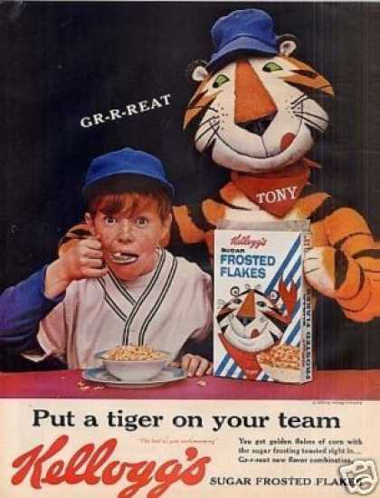 Kellogg's Frosted Flakes Cereal Ad Tony Tiger (1962)