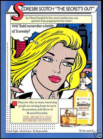 Scoresby Scotch Whisky Cheryl Art (1990)