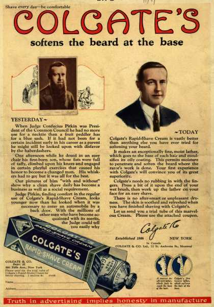 Colgate & Company's Colgate's Rapid-Shave Cream – Colgate's softens the beard at the base (1925)