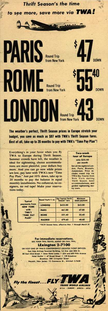 Trans World Airline's Thrift Season Fares – Thrift Season's the time to see more, save more via TWA (1954)