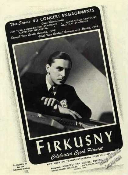 Rudolf Firkusny Celebrated Czech Pianist Trade (1944)