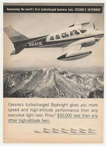 Cessna Skyknight Turbocharged Aircraft Photo (1961)