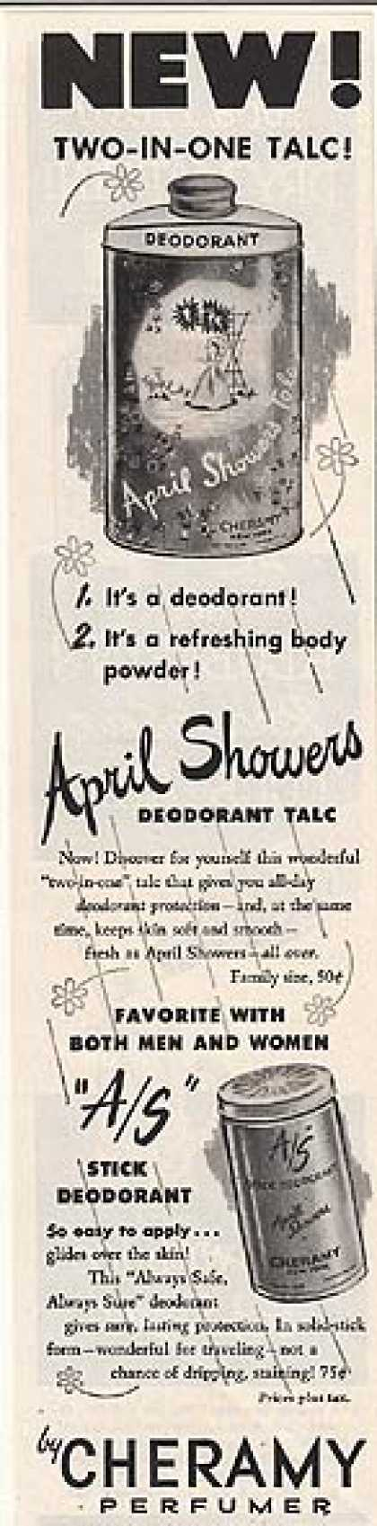 Cheramy's April Showers Deodorant Talc (1953)