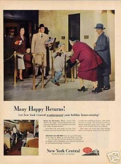 "New York Central Ad ""Many Happy Returns!"" (1951)"