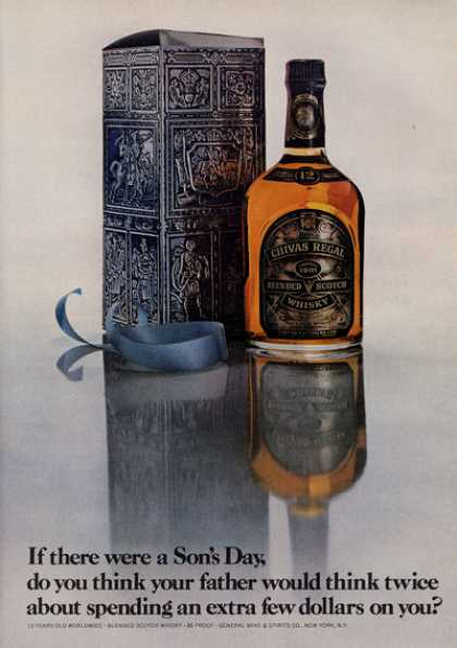 Chivas Regal Whisky Bottle Print (1971)