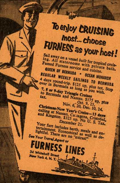 Furness Line's cruise – To enjoy Cruising most...choose Furness as your host (1954)