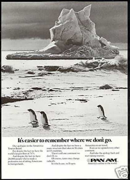 Pan Am Airlines Antarctica Penguins Photo (1975)