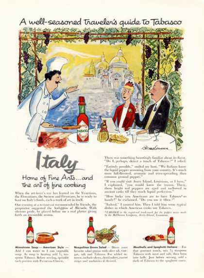 Italy Tabasco Cooking Bemelmans Art (1957)