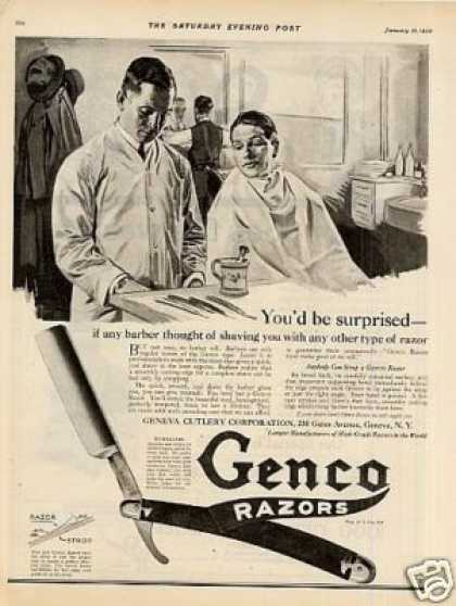 "Genco Razor Ad ""If Any Barber... (1920)"