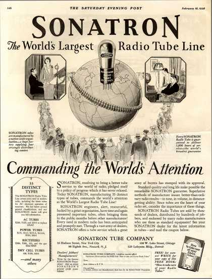 Sonatron Tube Company's Radio Tubes – Sonatron The World's Largest Radio Tube Line (1928)
