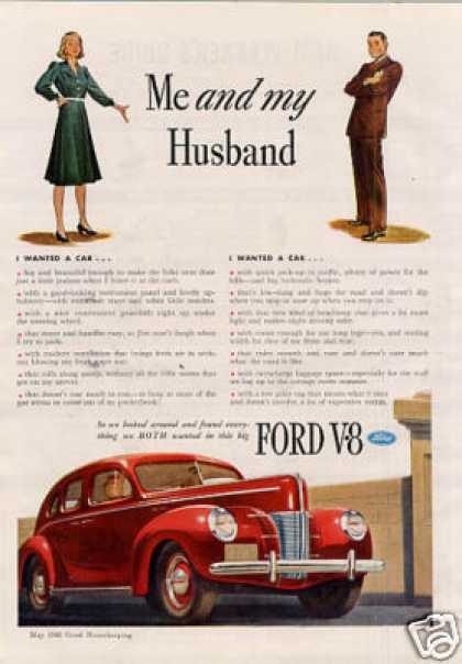 Ford V-8 Car Ad &quot;Me and My Husband... (1940)